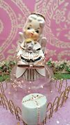 Vtg 1956 Napco Christmas Angel Holding Baby Doll Toy On Tray W Gift Wrap Cover