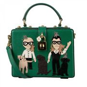 Dolce And Gabbana Leather Dolce Box Bag With Designer Cats Dogs Patch Green 09589