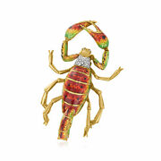 Vintage Diamond Scorpion Pin With Multicolored Enamel In 18kt Gold