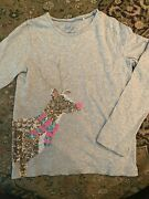 Girland039s Reindeer Sequin Holiday Christmas T-shirt Grey Size 8-9y