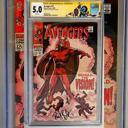 Avengers 57 Cgc 5.0 Ss Signed Paul Bettany 1st Appearance Of The Vision Rare