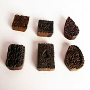 Set Of 6 Wooden Printing Blocks Hand Carved Textile Fabric Stamps 10954