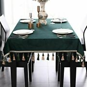 Vintage Solid Green Rectangular Tablecloth For Dining Table Velvet Banquet