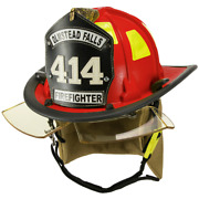 Cairns 880 Firefighter Chicago Helmet Nomex Chinstrap Bourkes Standard New Red
