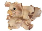 Pigs Plastic Piggy Bank Pile 4 Baby Pig Curly Tails Stopper Included Vintage