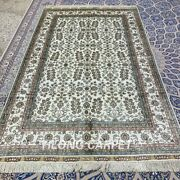 5and039x8and039 All-over Handmade Silk Carpet Antistatic Indoor Traditional Area Rug 362b