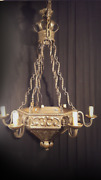 Antique Iron And Glass Pair Chandeliers. Aa 1489