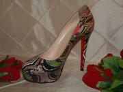 Christian Louboutin Hand Painted Green Snake Pump Sz 39.5 From My Stash