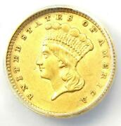1857 Indian Gold Dollar G1 - Certified Anacs Au50 - Rare Early Coin