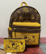 Loungefly Disney Winnie The Pooh Autumn Mini Backpack And Id Coin Purse Wallet Nwt