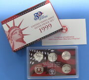1999 Silver State Quarter 5pc Proof Set With Government Packaging And Coa