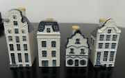 Klm Blue Delft House 1, 43, 56, 62 Miniature Pottery Houses - All Sealed