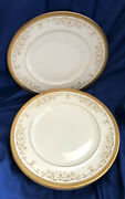 Royal Doulton Belmont Set Of 6 Dinner Plates Heavy Gold Discontinued Vintage