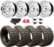 18 Polished Aluminum Wheels Rims Tires 35 12.50 18 Mt Package F-250 F-350