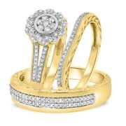 Diamond Trio His Her Bridal Wedding Band Engagement Ring Sets 10k Yellow Gold Fn