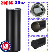 Us 25pcs 20oz Blank Insulated Tumbler Vacuum Travel Cup With Sealed Lid Black