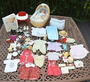 American Girl Doll Bitty Baby Pleasant Company Lot Wicker Bassinet Clothing