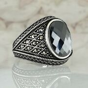 Solide 925 Sterling Silber Mens Ring Schwarz Onyx And Marcasite Edelstein Ottoman
