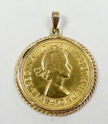 1966 Great Britain Full Sovereign Coin In 14k Bezel Necklace Pendant Free Ship