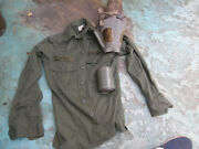 Us Army Shirt 13 1/2 X 32 + Gas Mask And Canister