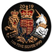 Uk 2019 2£ - Royal Arms - Lion King And Unicorn - Gilded - 1 Oz Silver Coin