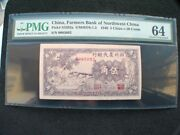 Cc014 1940 Farmers Bank Of Northwest China 5 Chiao P-s3292a Pmg Ms64