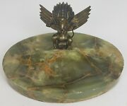 Vintage Green Marble Base Ashtray W/solid Brass Mythical God Figure