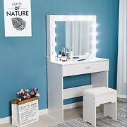 Vanity Set Makeup Dressing Table With 12 Led Lights With Stool And Mirror White