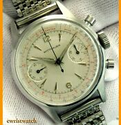 Vintage 50and039s Wittnauer Two Register Ss Chronograph 3256 Original Dial Good Cond