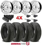 Polished Aluminum Wheels Rims Tires 265 70 17 General Hts60 Commercial Hd 10 Ply