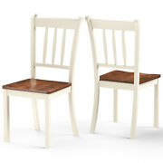 Costway Set Of 2 Wood Dining Chair High Back Dining Room Side Chair Ivory White