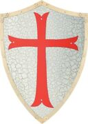 Knights Templar Shield W/chain On The Back For Displaying All Metal Construction