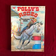 Whitman 1978 Coloring Book Polly's Rodeo Uncolored Vintage Western Horses