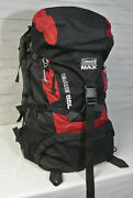 Exc Coleman Max Elate 65l Internal Frame Xl Hiking Backpack Black Red Camping