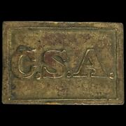 Confederate States Of America Csa Civil War Style Brass Vintage Belt Buckle