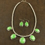 Navajo Gaspeite Sterling Silver Beaded Necklace And Earring Set