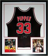 Scottie Pippen Autographed Champion Bulls Jersey One On One Coa Framed Photo