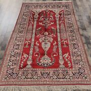 5and039x8and039 Red Handknotted Silk Carpet Living Room Home Indoor Pray Rug 045m