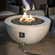 Faux Concrete Gas Fire Pit Electronic Pulse Ignition Lights Instantly Heavy Duty