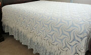 Vintage Hand Made Crochet Queen Size Bedspread 80 L X 106 W Off-white