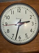 """Vintage Simplex Round Dome Electric School Wall Clock 13"""" Diameter Glass Works"""