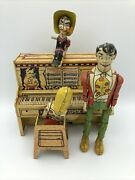"""1940s L'il Abner Dog Patch Piano Litho Tin Wind Up Toy """"parts"""" See Pics And Desc"""