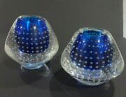 Murano Bullicante Control Bubble Glass Cobalt Blue And Clear Taper Candle Holder