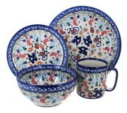 Blue Rose Polish Pottery Christmas Bounty 4 Piece Place Setting - Service For 1
