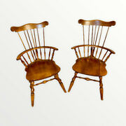 Vintage Nichols And Stone Maple Windsor Comb And Brace Back Arm Chairs - Set Of Two