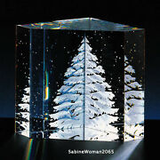 New In Box Steuben Glass Engraved Christmas Tree Paperweight Star Ornamental Art