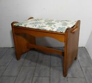 Vintage Mid Century Rustic Maple Wood Piano/vanity/sewing Stool Bench Seat