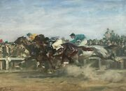 Angelo Jank Original Signed Antique Equestrian Horse Racing Oil Painting Listed