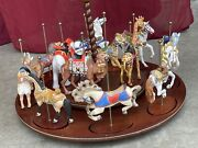 Franklin Mint Treasury Of Carousel Art 1988 Set Of 12 Horses And Animals W Base