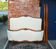 Antique French Walnut Upholstered Louis Xv Full Size Bed And Rails New Upholster